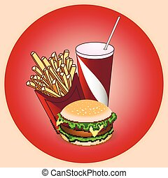 Fast food icon with burger, cheeseb