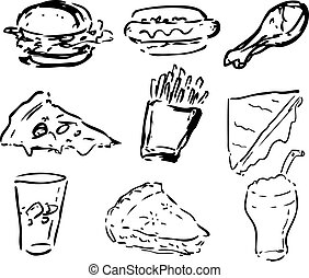 Fast food icons, black and whte hand-drawn look: hamburger,...
