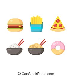 Fast food icons: burger and fries, pizza, chinese food and...