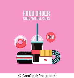 Fast food icons Drink Hamburger Hot dog Donut French fries