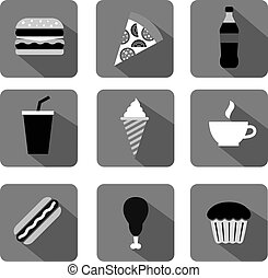 fast food icons gray