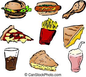 Fast food icons, hand-drawn look: hamburger, hotdog, fried...