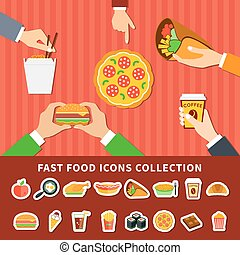 Fast Food Icons Hands Flat Banners