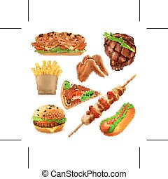 Fast food icons - Set with fast food vector icons, isolated...