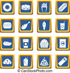 Fast food icons set blue