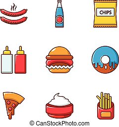 Fast food icons set, flat style