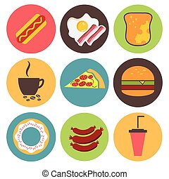 Fast food icons set for menu, cafe and restaurant. Flat design vector