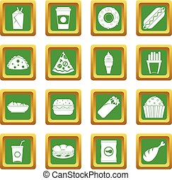 Fast food icons set green