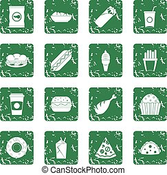 Fast food icons set grunge