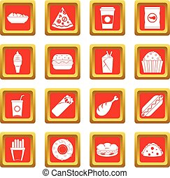 Fast food icons set red