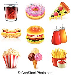 Fast food icons vector set