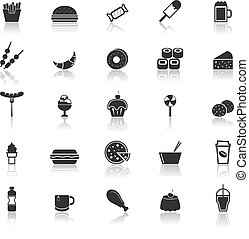 Fast food icons with reflect on white background