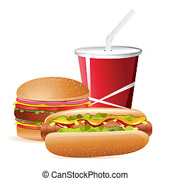 Fast Food - illustration of burger, hot dog and cold drink ...