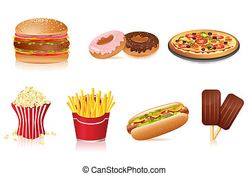 Fast Food - illustration of fast food on isolated background