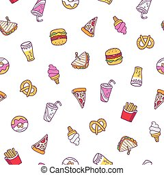 Fast food illustrations seamless pattern