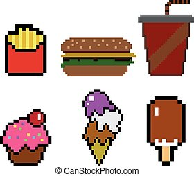 Pixel Hamburger Isolated Vector Pixel Tasty Hamburger High