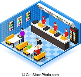 Fast Food Isometric Background