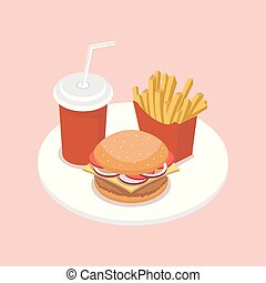 Fast food isometric vector illustration