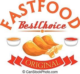 Fast food label. Crispy fried chicken legs
