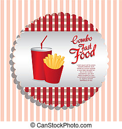 fast food label - label combo of fries and soda, vector...