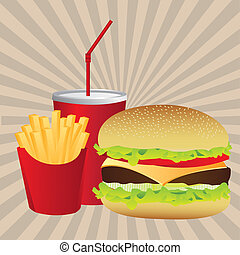 fast food label over grunge background vector illustration