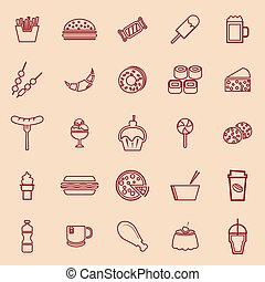 Fast food line color icons on brown background