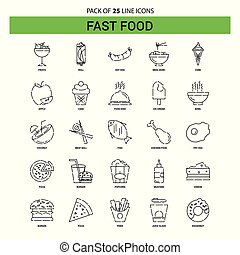 Fast food Line Icon Set - 25 Dashed Outline Style