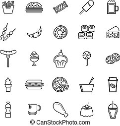 Fast food line icons on white background