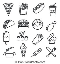 Fast food line icons set on white background