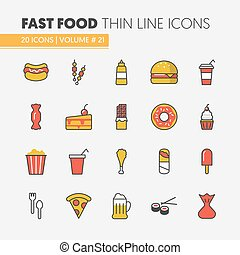 Fast Food Linear Thin Line Vector Icons Set with Burger Pizza and Junk Food