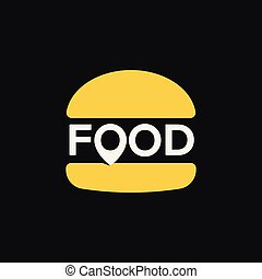 Fast food location logo, minimal stylized burger icon, abstract pin sign, vector illustration on black background.