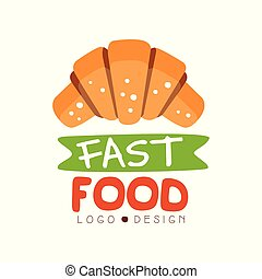 Fast food logo design, badge with croissant sign, fast food menu vector Illustration on a white background
