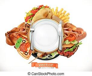 Fast food logo. Sandwich, steak, chicken, french fries,...