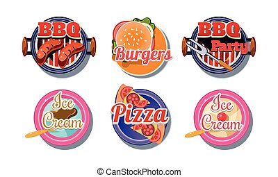 Fast food logo set, pizza, barbecue, burger, ice cream badges vector Illustration on a white background