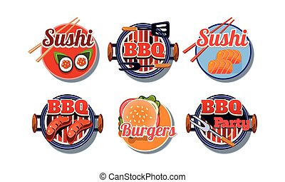 Fast food logo set, sushi, barbecue, burger badges vector Illustration on a white background