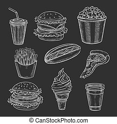 Fast food lunch meal chalk sketch on blackboard. Hamburger...