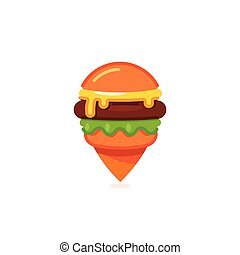 Fast food map marker icon, burger restaurant pin logo template, cheeseburger vector illustration on white background.