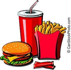 fast food meal - illustration of fast food meal, hamburger,...