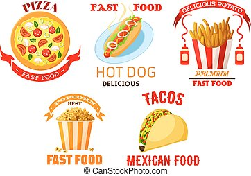Fast food meal snacks vector isolated icons set - Fast food...