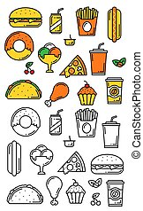 Fast food meals thin line vector menu icons