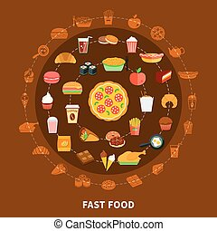 Fast Food Menu Circle Composition Poster