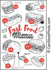 Fast food menu cover layout with hand drawn illustrations of bur