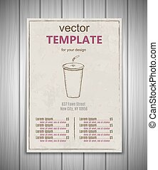 Fast food menu design template hand drawn vector