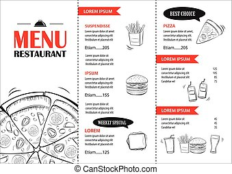 Fast food menu design template. Restaurant or cafe pizza cover hand drawn background.