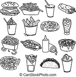 Fast food menu icons black outline