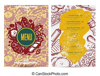 Fast food menu layout with hand drawn graphic