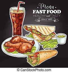 Fast food menu on a black board. Vector Illustration.