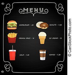 Fast food menu on chalkboard
