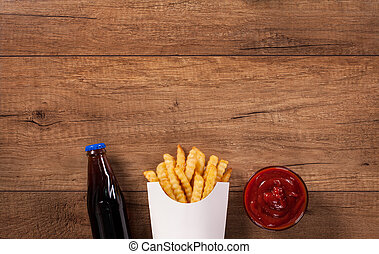 Fast food menu on the table - with copy space