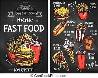 Fast food sketch menu template. Price for pizza and burger sandwich, hot dog hamburger or cheeseburger and french fries. Vector desserts of ice cream, popcorn and coffee or soda drink for delivery or takeaway